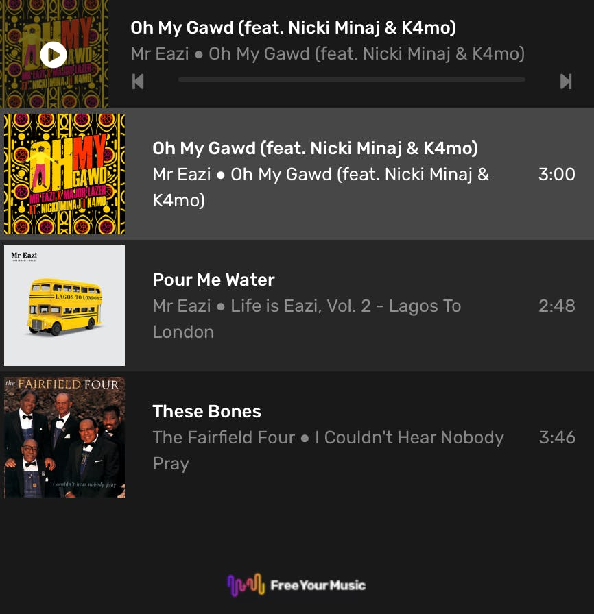Place your playlists on your blog and website as a sleek player.