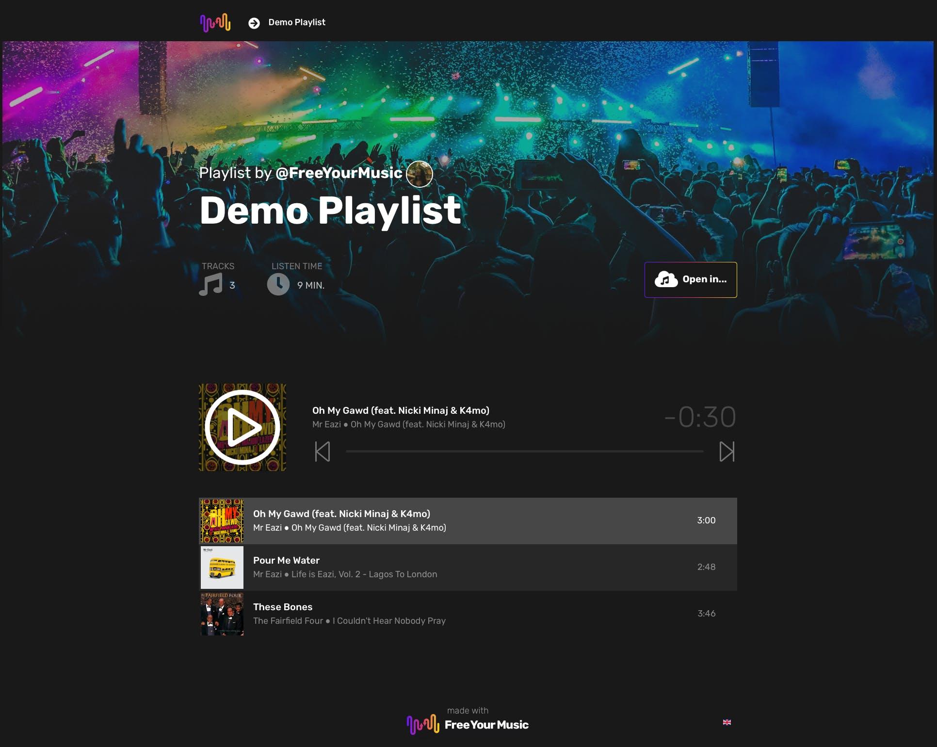 Promuj swoją muzykę na wszystkich platformach streamingowych za pomocą jednego smart linka. Kieruj fanów na elegancką stronę docelową, która pozwala im otwierać playlisty w ich ulubionej aplikacji do odtwarzania muzyki.