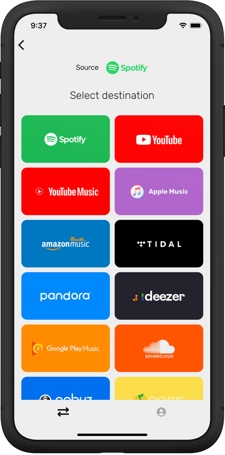 Step 2: Select YouTube Music as a destination music platform